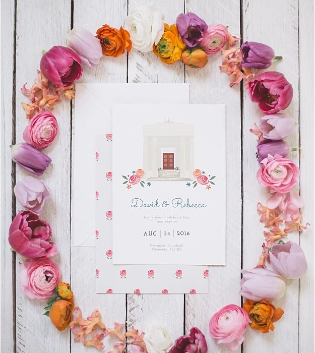 Modern spring time wedding inspiration, inspired by Dearly Beloved's stationery designs. Vibrant wild flowers & a stunning cake at Devonport Guildhall.