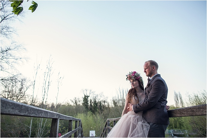 PHOTO BY ASSASSYNATION /Pink Wedding Dress By Liliia / Barn Wedding / https://www.mrandmrsunique.co.uk/rustic-woodland-wedding-assassynation/