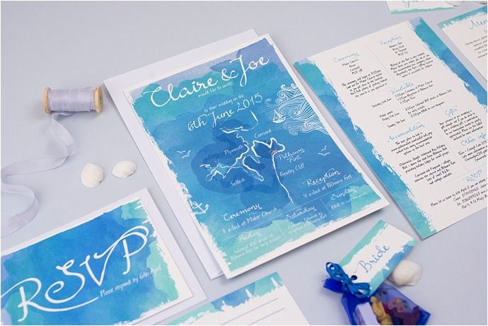 Claire Louise Creates / Unique, colourful wedding stationery / As featured on www.mrandmrsunique.co.uk