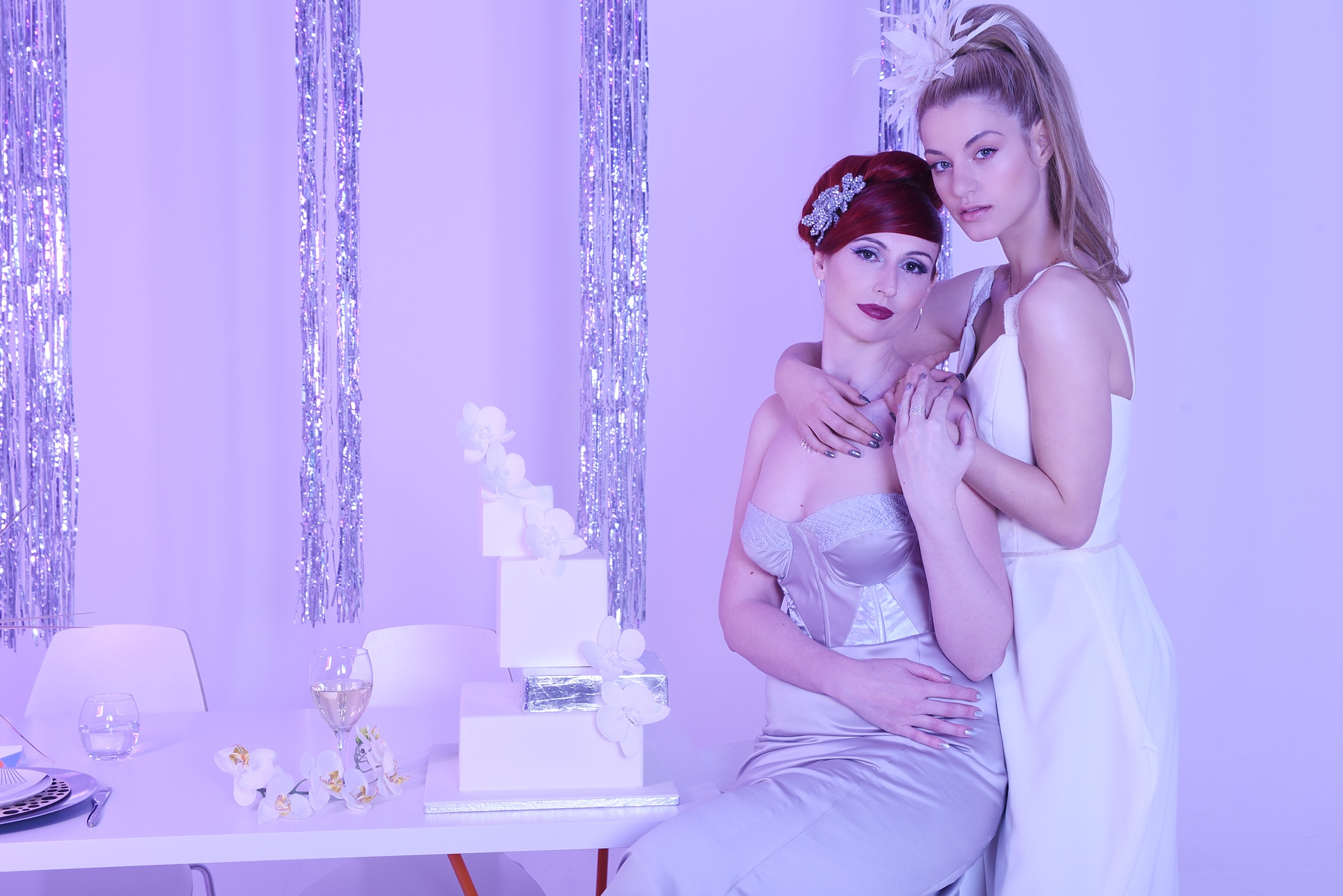 Icetank, futuristic fantasy, same sex brides / Photos by Emma Jane Photography / Styled by Way Out Wedding & Carmela Weddings / As featured on www.mrandmrsunique.co.uk