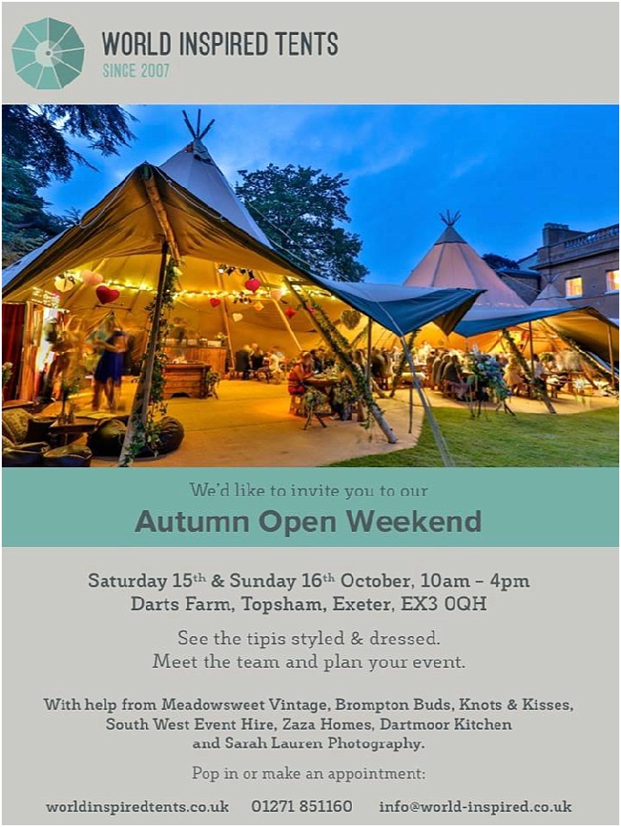 World Inspired Tents- Wedding Tipi Open Weekend- Exeter