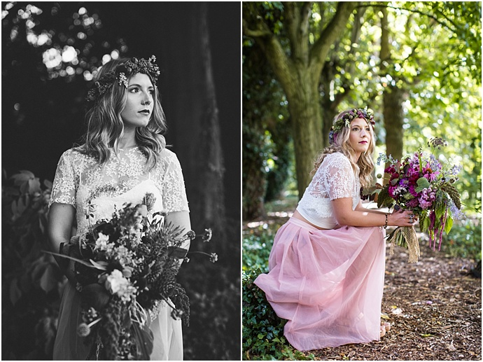 Bohemian, Pink, Bridal Inspiration featuring a naked tipi, floral chanderlier, incredible wedding cakes and bridal separates. Styled by Mr & Mrs Unique. Photos by Binky Nixon Photography