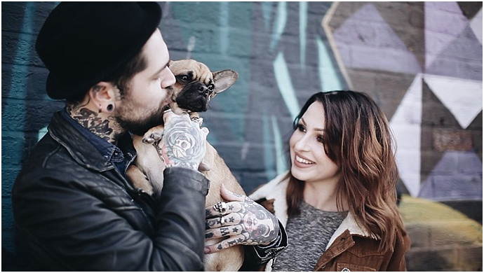 Cardiff, tattooed, engagement shoot with Day of The Dead Graffiti- Photos by Costa Sisters as featured on Mr & Mrs Unique
