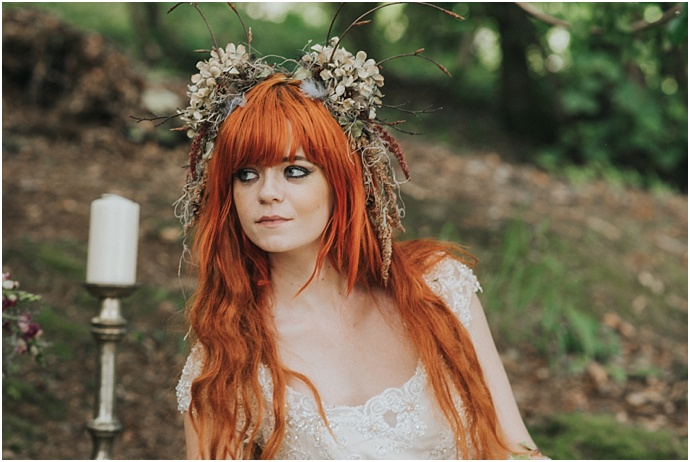 Woodland brides, Thorn House, fairies, nymphs and flower crowns, photos by Clare Kinchin, Best Day Ever Ceremonies as seen on Mr & Mrs Unique