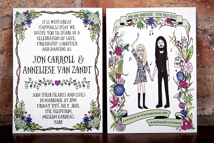 Emmy Designs - bespoke, illustrated wedding stationery as seen on Mr and Mrs Unique www.mrandmrsunique.co.uk