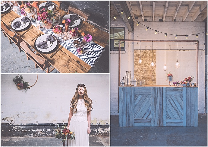 Industrial monochrome & pretty floral bridal inspiration by All Things Borrowed as seen on Mr & Mrs Unique www.mrandmrsunique.co.uk