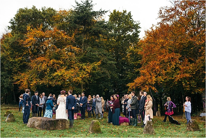 Autumnal, jewel toned woodland wedding at Huntstile Organic Farm in Somerset. Photos by Freckle Photography