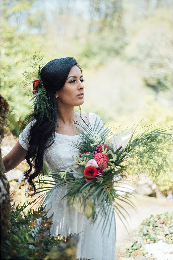 A colourful, elegant, tropical bridal shoot. Photos by Liberty Pearl Photography
