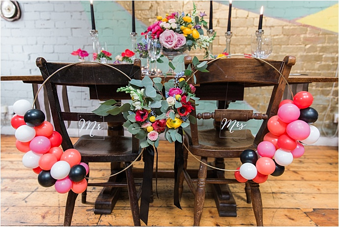 Trendy, fun, contemporary colour pop wedding inspiration shoot. Photos by Siobhan Amy Photography