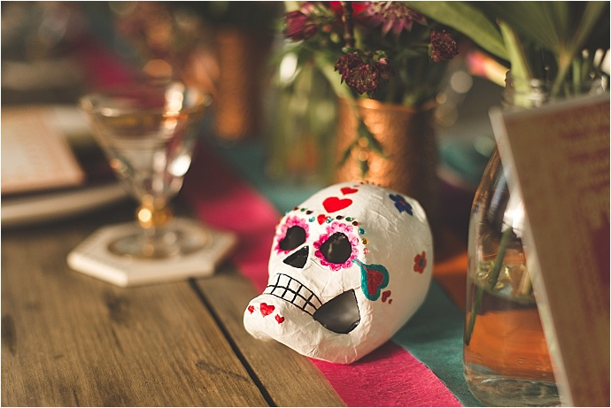 Super bright Mexican day of the dead inspiration shoot at Ringshall Grange in Suffolk