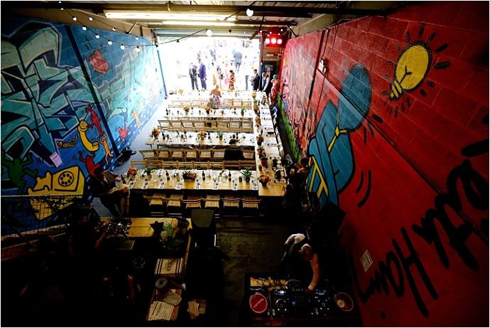 Colourful, Fun Graffiti Warehouse wedding at The Boiler House, Cardiff. Photos by Maria Farrelly