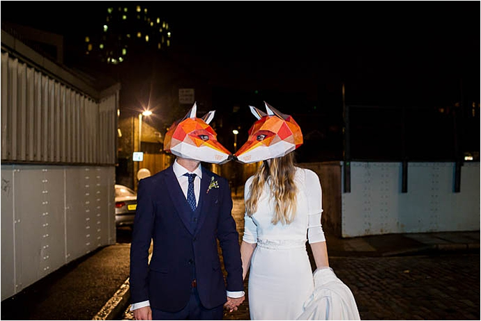 Binky Nixon Photography,Foxes,Kings Cross wedding,alternative bride,bohemian bride,boho bride,city wedding,city wedding ideas,cool bride,cool london wedding,family wedding,fox mask,kids at weddings,london wedding dress,real wedding,stylish wedding dress,wedding,