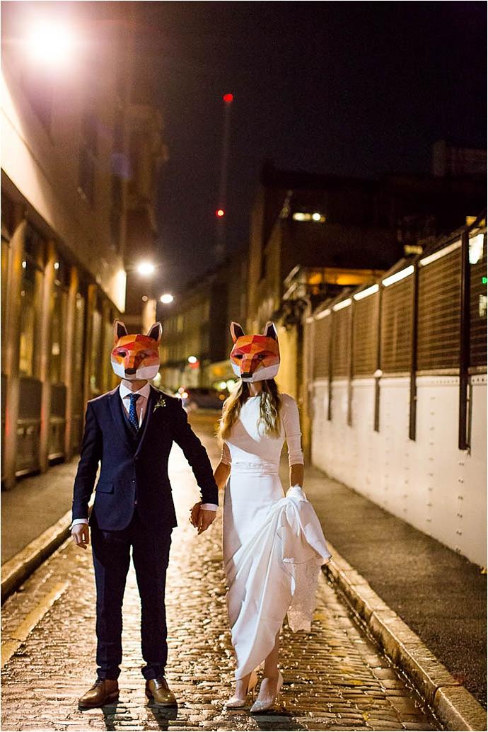 Binky Nixon Photography,Foxes,Kings Cross wedding,alternative bride,bohemian bride,boho bride,city wedding,city wedding ideas,cool bride,cool london wedding,family wedding,fox mask,kids at weddings,london wedding dress,real wedding,stylish wedding dress,wedding,