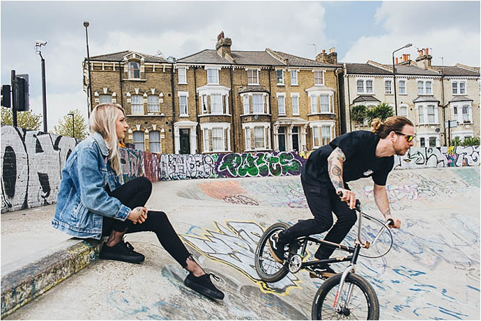 London,alternative bride,bmx,bride to be,couples shoot,creative wedding photography,edgy bride,edgy couples shoot,engagement shoot,francesca secolonovo photography,graffiti,graffiti shoot,happiness,love,mr and mrs unique,pre wedding shoot,skateboarding,tattooed bride,tattooed groom,