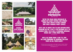 Papakata Autumn Open Weekend- Wedding Tipi Open day st Escrick Park in York