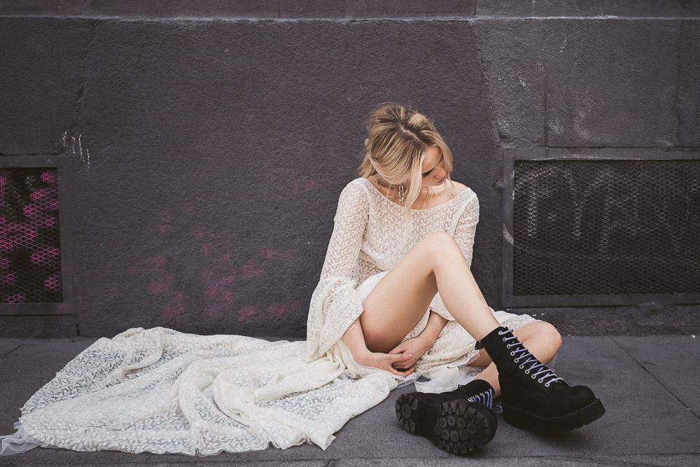 Barcelona, blade runner, bridalwear, cool bridal style, cool bride, eccentric bride, edgy bride, futuristic wedding, Galactic love, grunge bride, grunge wedding, gucci pearl shoes, Hotel Melia, leather jacket bride, otaduy, retro wedding, rocknroll bride, street graffiti, streetwear, streetwear for brides