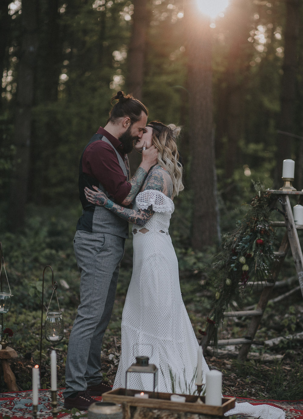 elopement ideas, elopement, alternative bride, autumn wedding, bearded groom, bohemian wedding, Bridal shoot, candles, cool bride, daughters of simone, festival bride, forrest wedding, oudoor wedding, rock bride, rustic charm, sunset wedding, tattooed bride, tattooed groom, Wedding inspiration, woodland wedding