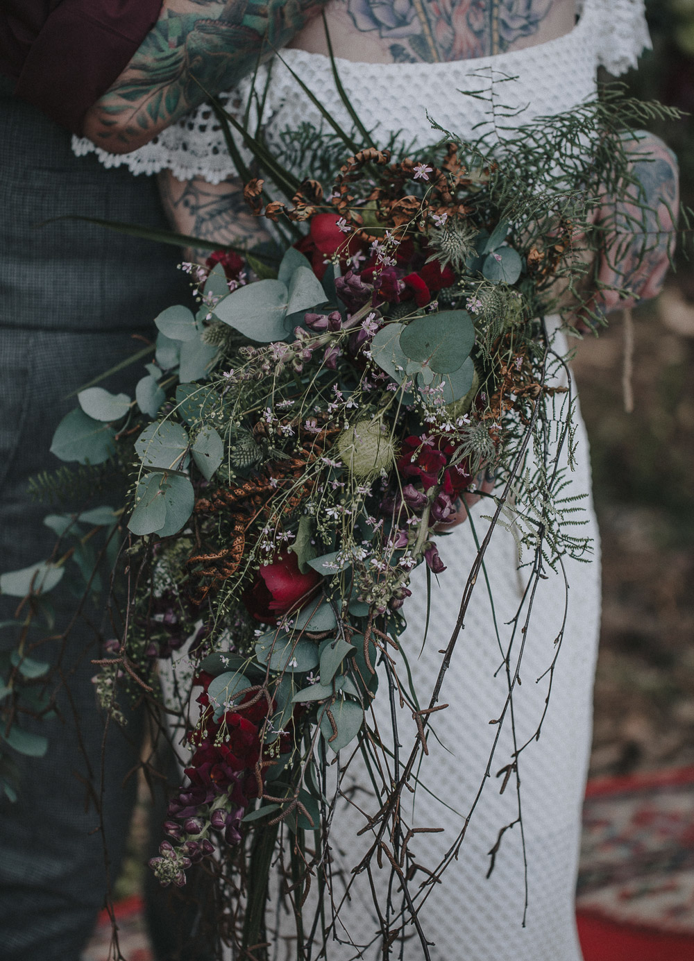 alternative bride, autumn wedding, bearded groom, bohemian wedding, Bridal shoot, candles, cool bride, daughters of simone, festival bride, forrest wedding, oudoor wedding, rock bride, rustic charm, sunset wedding, tattooed bride, tattooed groom, Wedding inspiration, woodland wedding