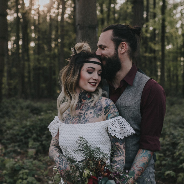 elopement, elopement ideas, alternative bride, autumn wedding, bearded groom, bohemian wedding, Bridal shoot, candles, cool bride, daughters of simone, festival bride, forrest wedding, oudoor wedding, rock bride, rustic charm, sunset wedding, tattooed bride, tattooed groom, Wedding inspiration, woodland wedding