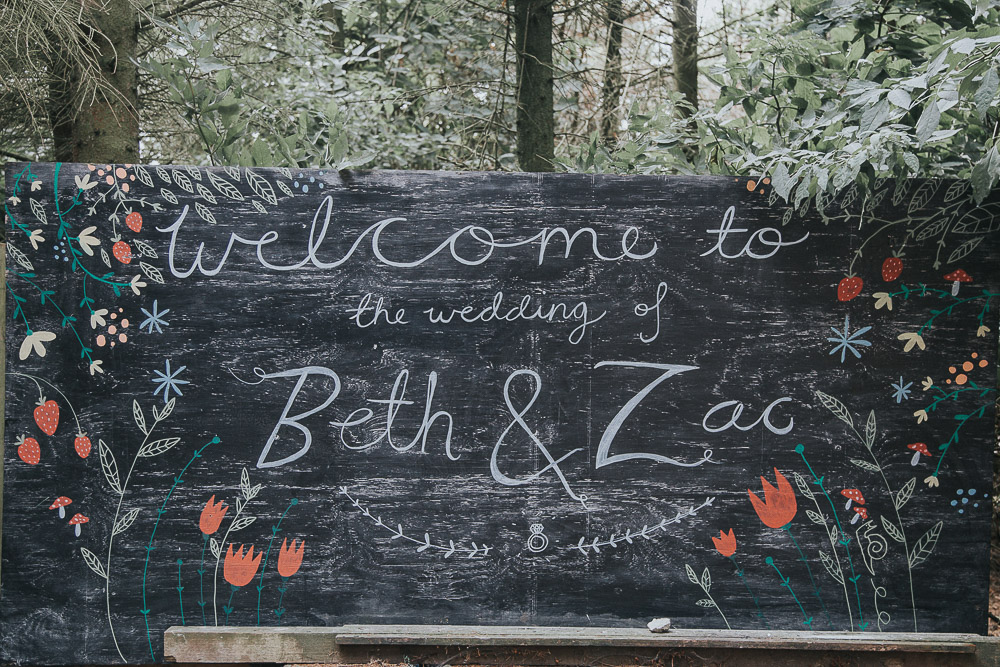 blackboard signage, wedding signs, alternative wedding dress, Colourful wedding, cool bride, cool groom, DIY wedding, eco friendly wedding, festival vibe, festival wedding, floral crown, fun wedding, ginger bride, gluten free catering, Handmade wedding, joasis photography, mulberry lodge, mulberry lodge weddings, outdoor wedding, pom poms, quirky bride, red hair bride, relaxed wedding, rustic wedding, Smugglers, vegan catering, vintage wedding dress, wedding games, woodland wedding