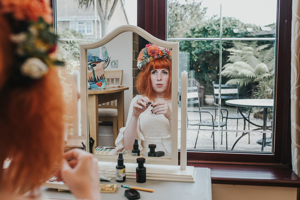 bridal prep, bride prep, bridal make up, alternative wedding dress, Colourful wedding, cool bride, cool groom, DIY wedding, eco friendly wedding, festival vibe, festival wedding, floral crown, fun wedding, ginger bride, gluten free catering, Handmade wedding, joasis photography, mulberry lodge, mulberry lodge weddings, outdoor wedding, pom poms, quirky bride, red hair bride, relaxed wedding, rustic wedding, Smugglers, vegan catering, vintage wedding dress, wedding games, woodland wedding