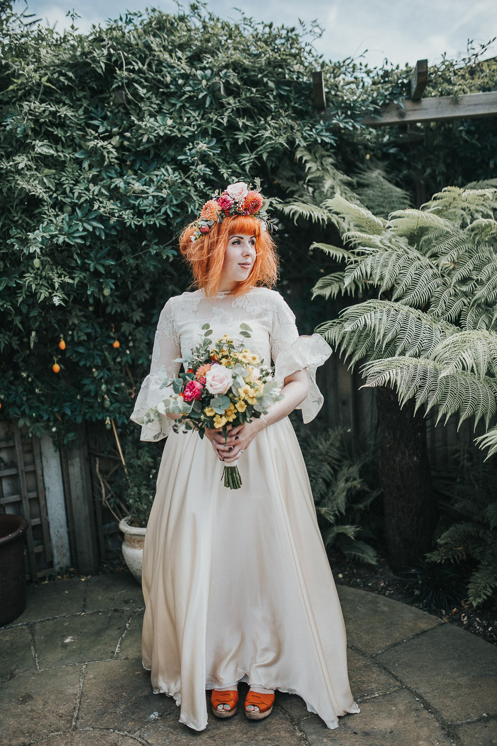 bride portraits, unique bride, alternative bride, colourful bride, edgy bride, alternative wedding dress, Colourful wedding, cool bride, cool groom, DIY wedding, eco friendly wedding, festival vibe, festival wedding, floral crown, fun wedding, ginger bride, gluten free catering, Handmade wedding, joasis photography, mulberry lodge, mulberry lodge weddings, outdoor wedding, pom poms, quirky bride, red hair bride, relaxed wedding, rustic wedding, Smugglers, vegan catering, vintage wedding dress, wedding games, woodland wedding