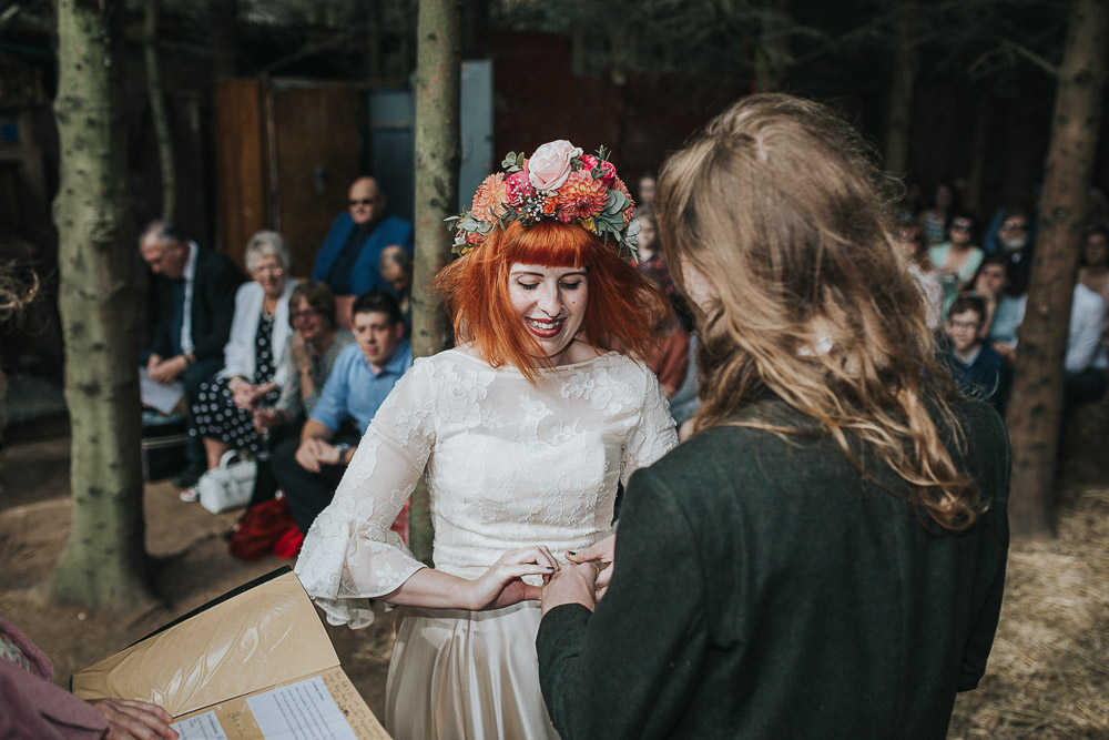 wedding ceremony, wedding rings, i do, alternative wedding dress, Colourful wedding, cool bride, cool groom, DIY wedding, eco friendly wedding, festival vibe, festival wedding, floral crown, fun wedding, ginger bride, gluten free catering, Handmade wedding, joasis photography, mulberry lodge, mulberry lodge weddings, outdoor wedding, pom poms, quirky bride, red hair bride, relaxed wedding, rustic wedding, Smugglers, vegan catering, vintage wedding dress, wedding games, woodland wedding