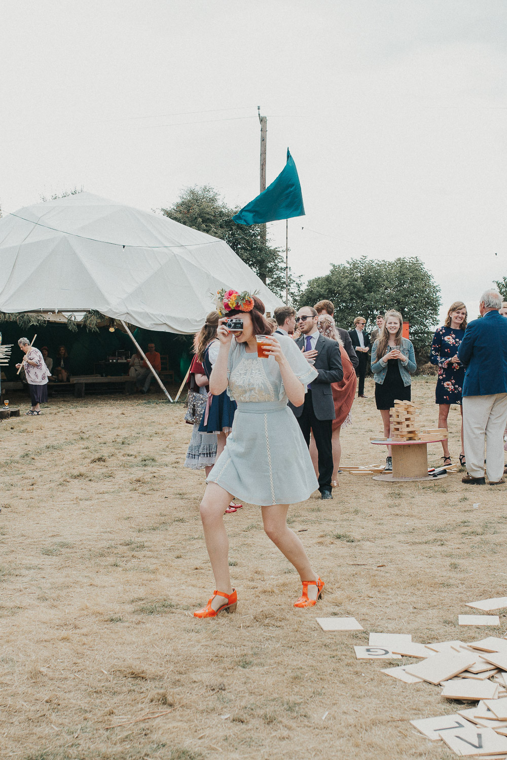 alternative wedding dress, Colourful wedding, cool bride, cool groom, DIY wedding, eco friendly wedding, festival vibe, festival wedding, floral crown, fun wedding, ginger bride, gluten free catering, Handmade wedding, joasis photography, mulberry lodge, mulberry lodge weddings, outdoor wedding, pom poms, quirky bride, red hair bride, relaxed wedding, rustic wedding, Smugglers, vegan catering, vintage wedding dress, wedding games, woodland wedding
