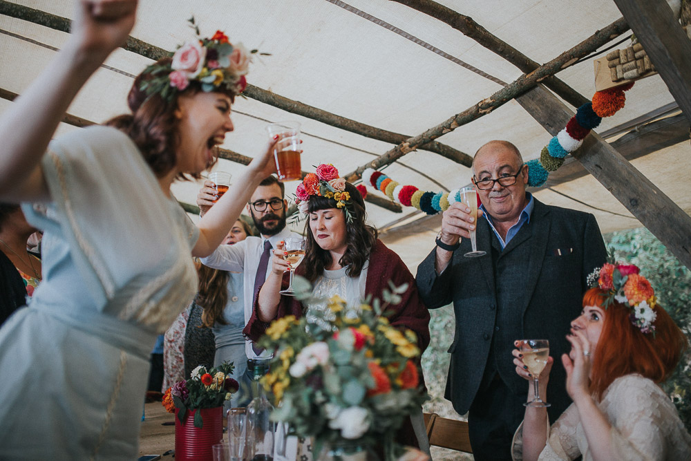 wedding cheers, wedding celebration, alternative wedding dress, Colourful wedding, cool bride, cool groom, DIY wedding, eco friendly wedding, festival vibe, festival wedding, floral crown, fun wedding, ginger bride, gluten free catering, Handmade wedding, joasis photography, mulberry lodge, mulberry lodge weddings, outdoor wedding, pom poms, quirky bride, red hair bride, relaxed wedding, rustic wedding, Smugglers, vegan catering, vintage wedding dress, wedding games, woodland wedding