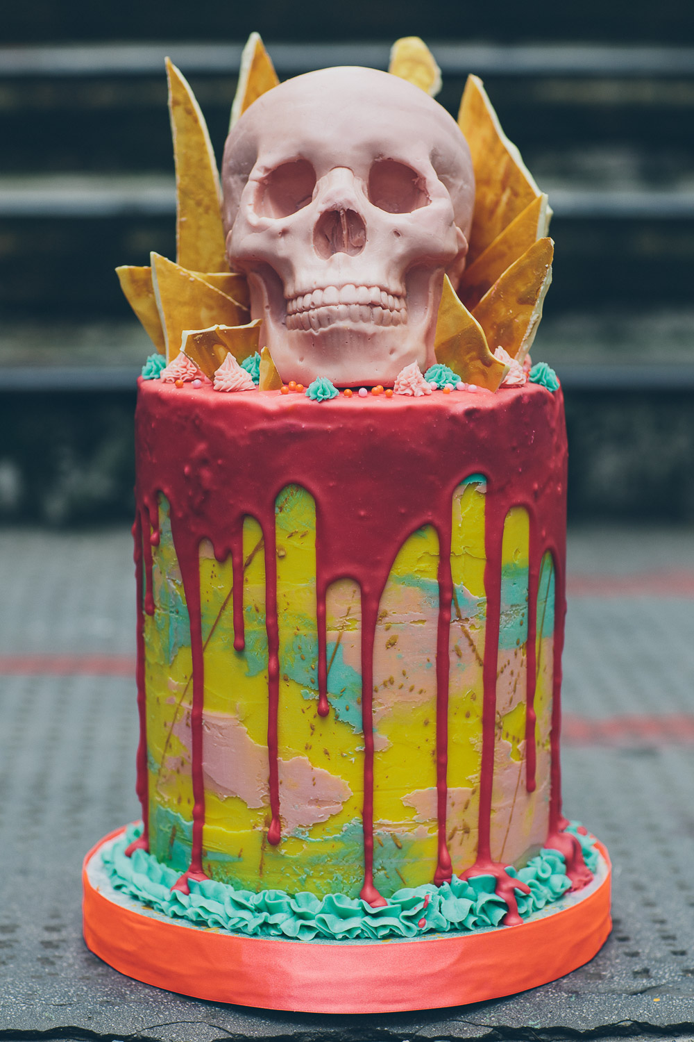 Tattooed Bakers, creative cakes, london cake bakers, london wedding cakes, creative wedding cake, skull cake, skull wedding cake, neon wedding cake, shoreditch wedding cake, alternative wedding cake, cool wedding cake