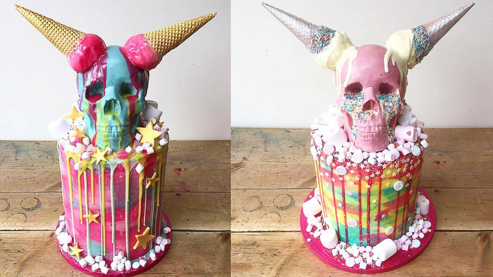 skull and ice cream cake, Tattooed bakers, London based Cake & Food Creatives