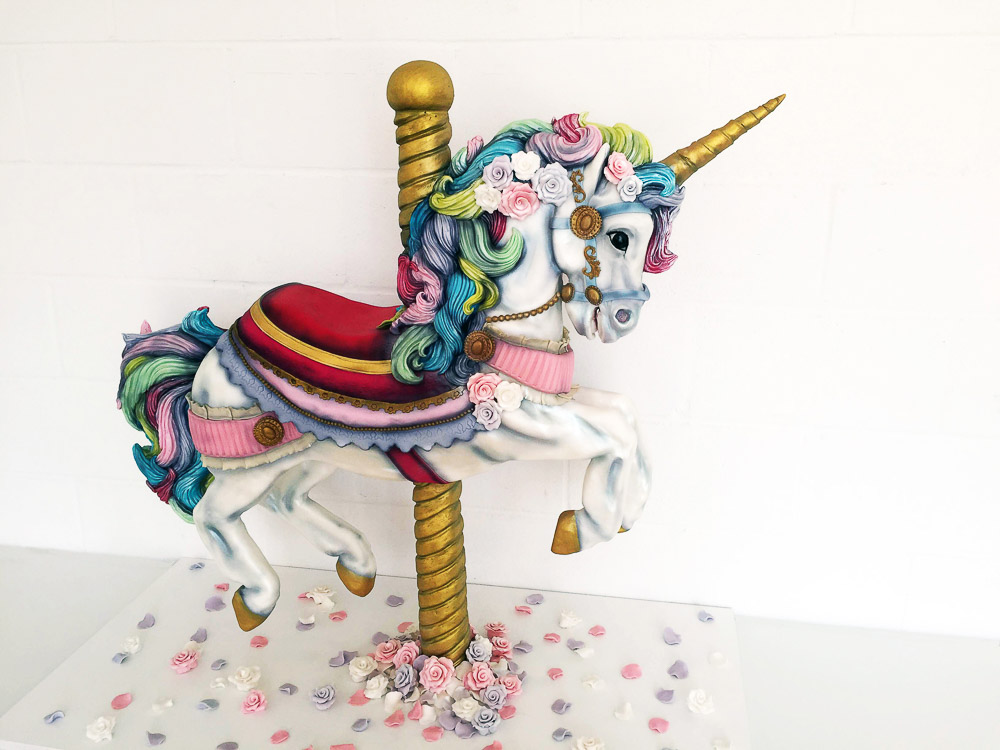 Tattooed Bakers, creative cakes, london cake bakers, london wedding cakes, creative wedding cake, unicorn wedding cake, unicorns, carousel wedding cake, large wedding cake, colourful wedding cake, unique wedding cake