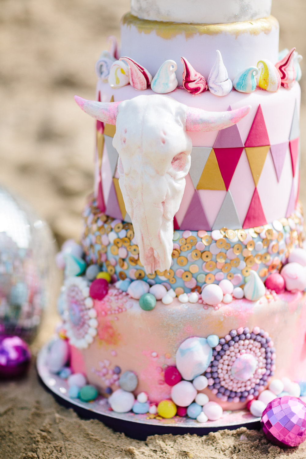 Tattooed Bakers, wedding cake, burning man cake, pink wedding cake, sequin wedding cake