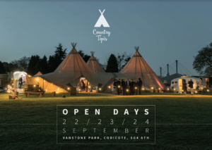 Country Tipis Autumn Open Day will showcase their magnificent wedding tipis at Vanstone Park, Hertfordshire near Hitchin in September 2017