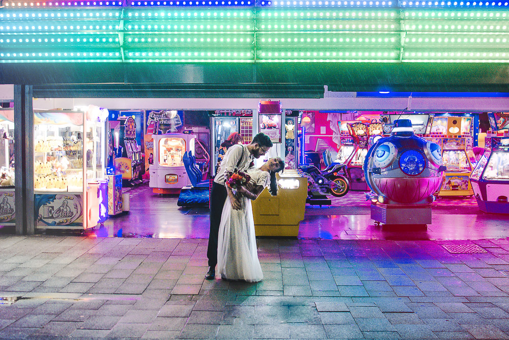 Vibrant, Elopement Inspiration at a Neon Amusement Park