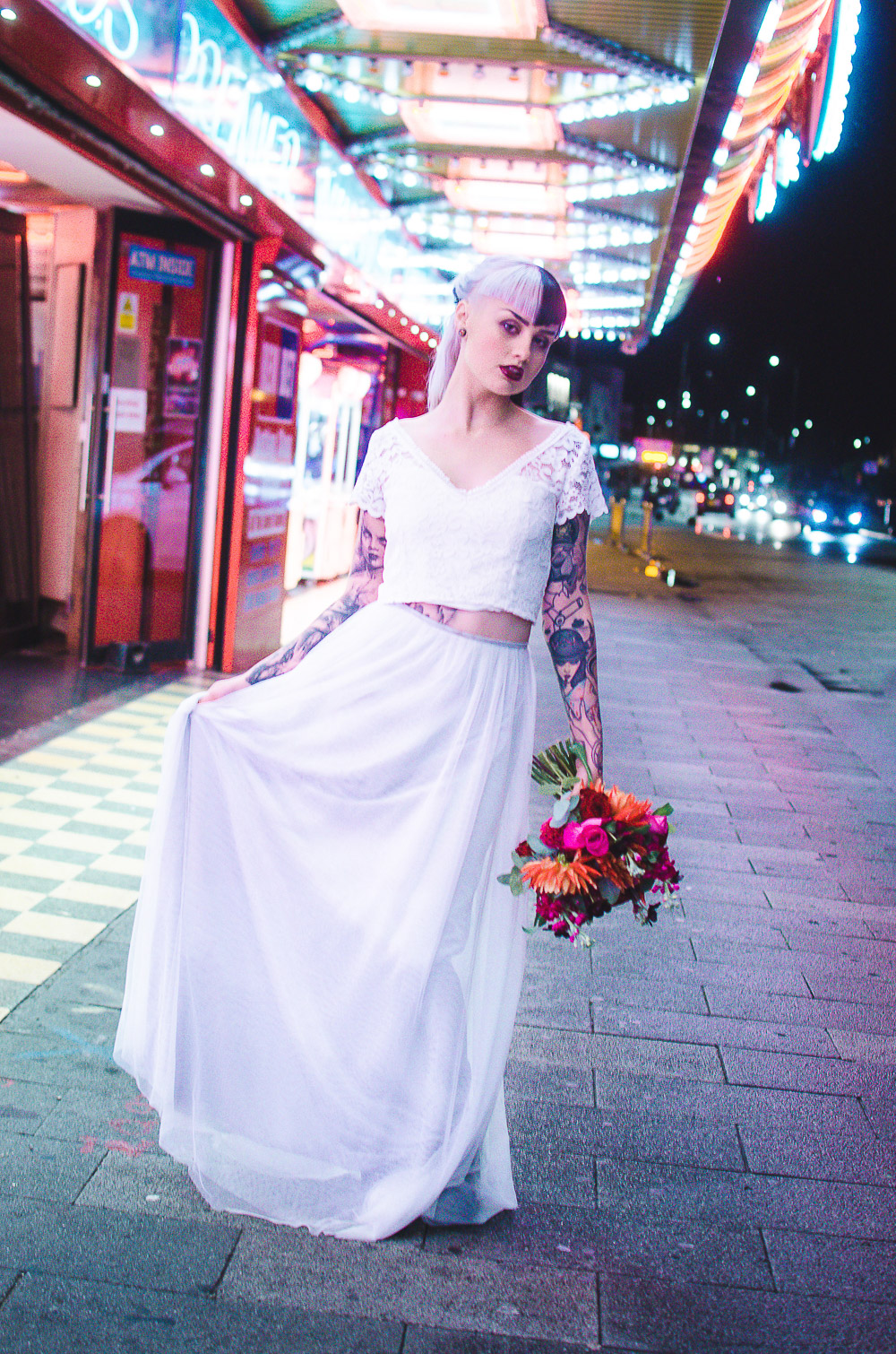 alternative wedding inspiration, amusements park wedding, bridal sepeartes, city wedding, Colourful wedding, colourful wedding bouquets, cruella hair, elopement, elopement shoot, Khandie Photography, lace bridal dresses, Lucy Cant Dance, Modern Wedding, neon sign, nighttime wedding, seafront wedding, tattooed bride, tattooed groom, The Flower Arranger, unique wedidng dresses, vegas baby, vegas style wedding, vegas wedding, vibrant wedding, wedding dress