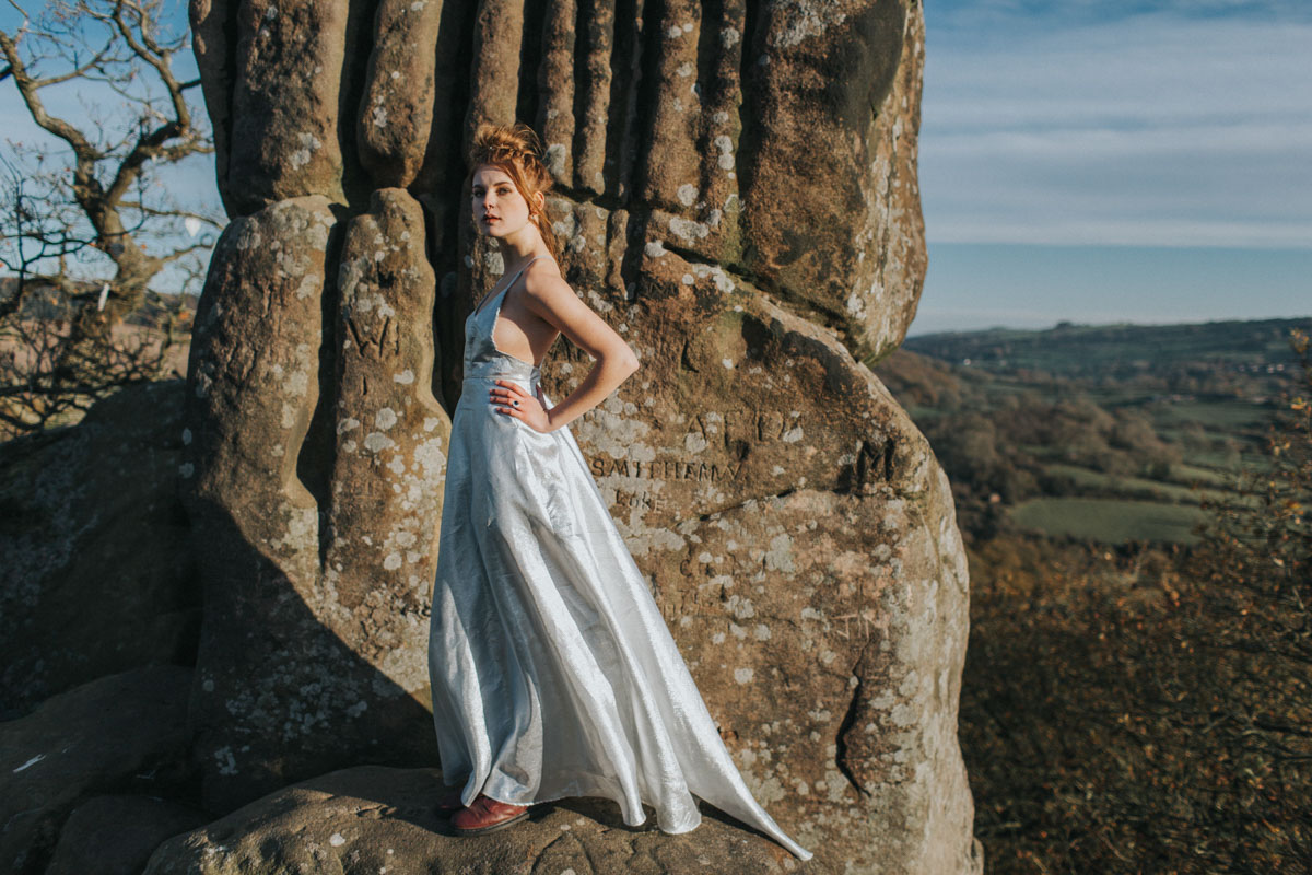 alternative bride, alternative wedding dress, autumn wedding, autumnal, bridal style, cool brides, countryside wedding, doc martens, edgy bride, elopement, forbidden love, handmade dress, magda k photography, outdoor elopement, outdoor wedding, peak district, peak district wedding, runaway bride, runaway wedding, same sex elopement, same sex marriage, same sex wedding, silver wedding dress, tartan, tartan dress, two brides, wild bride