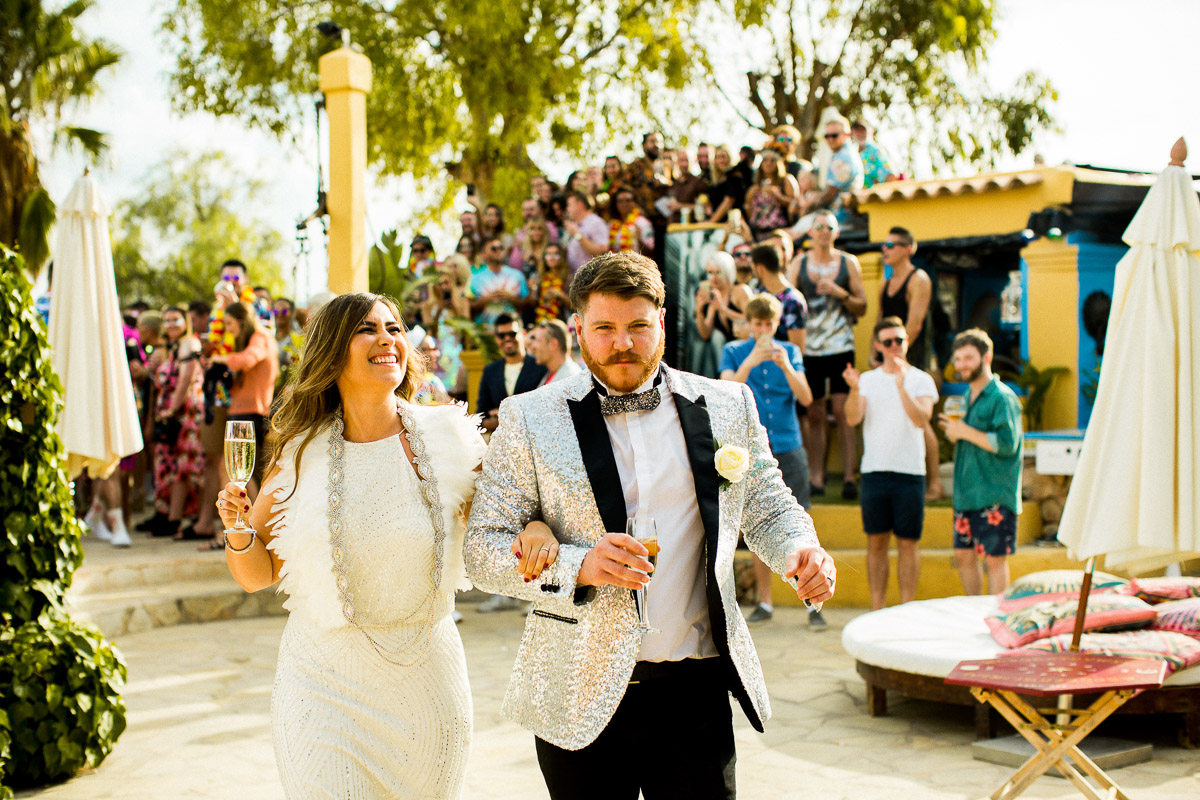 Balearic wedding, ball pit, best man suits, Colourful wedding, destination wedding, emotive wedding photography, epic wedding cakes, feather wedding dress, festival wedding, fun filled wedding, glitter suits, glitter wedding, ibiza party, ibiza wedding, ibiza wedding destination, matt parry photography, palm tree suits, pikes hotel, pink suits, sequin bridesmaids, tropical wedding