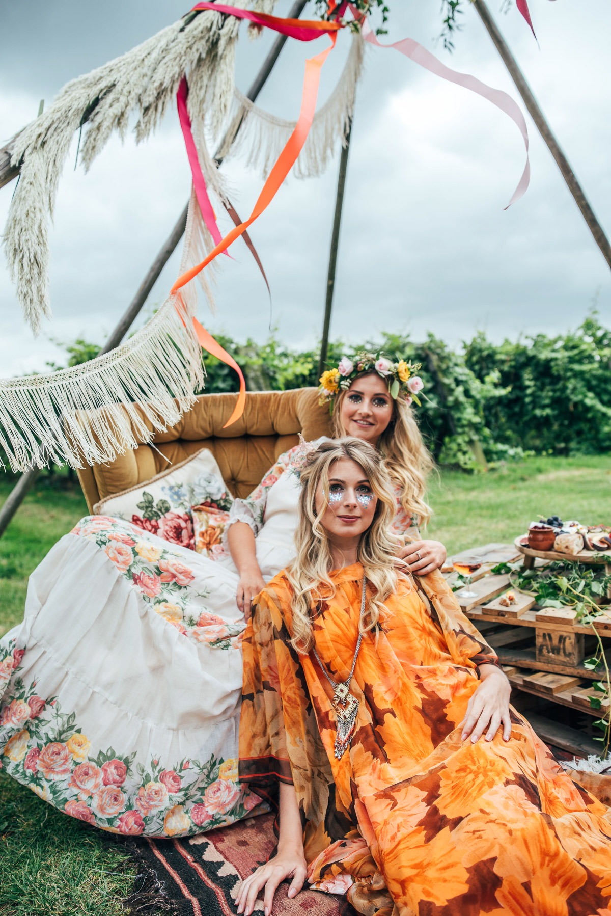 bohemian hen party, boho bride, essex hen party, festival hair, festival hen party, festival make up, garland making, gather & feast events, grazing platters, hen party ideas, naked tipi, starry eyed weddings, The Railway Barn, three flowers photography, unique hen party, vineyards, wine tasting