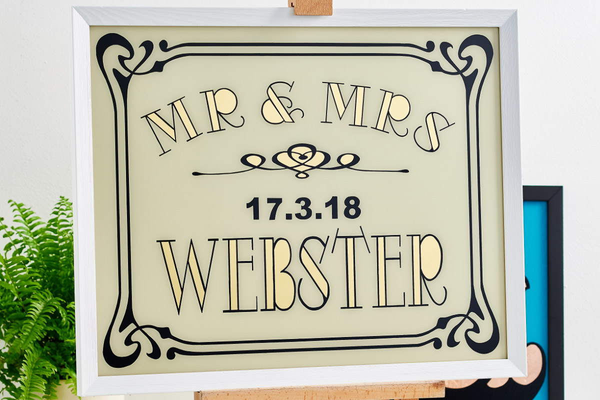 bespoke gifts, bespoke wedding gifts, copper decor, gilding, gold art, gold leaf, personalised gift, sign painting, typography, typography art, unique wedding gifts, wedding signs