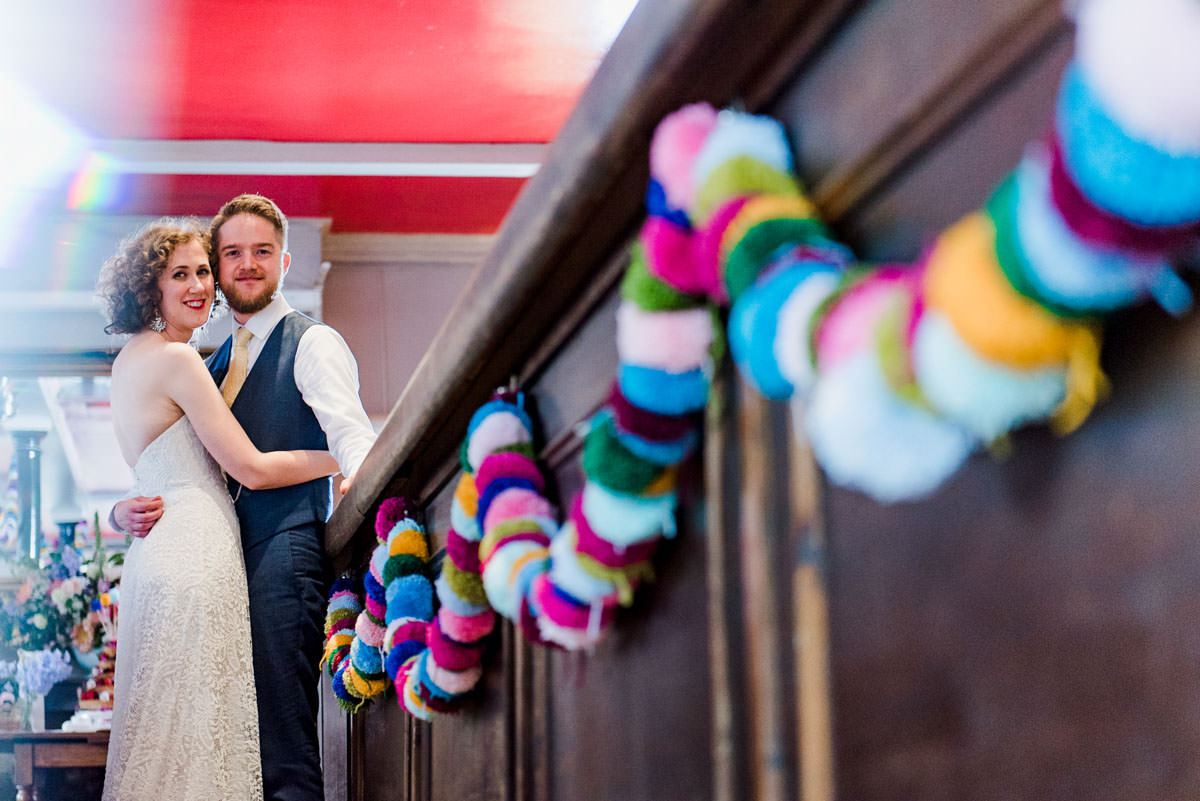 babb photo, city wedding, colourful wedding stationery, colourpop wedding, diy decor, flower appreciation society, handmade details, highgate, laura babb, london pub wedding, london wedding, Mr and Mrs Unique, pompoms, rainbow wedding, The, the clerk and well, urban wedding, wedding decor