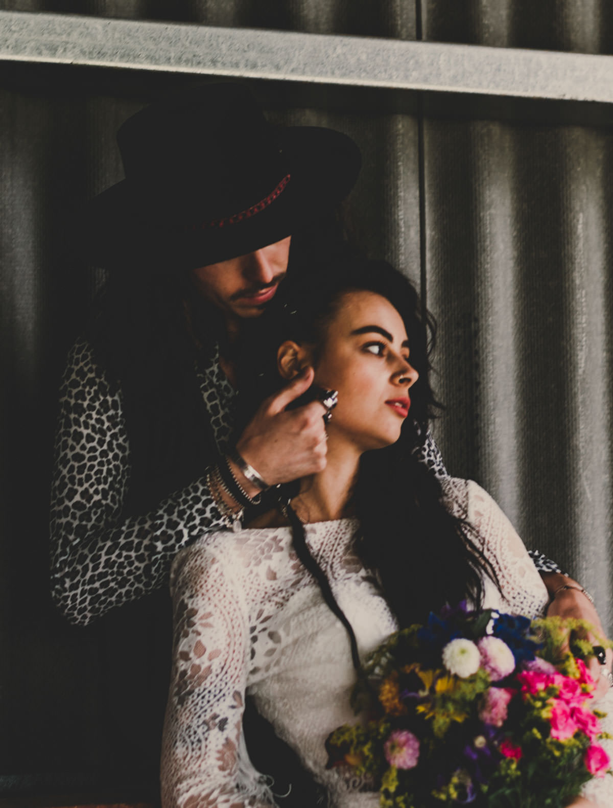 Edgy, Colourpop, Bridal Inspiration with Festival salternative barn wedding, alternative weddings, barn wedding, bright confetti, colourful wedding flowers, colourpop wedding colourful wedding, edgy bride, exclusive venue hire, fedora hats, festival bride, festival wedding, fringing, glitter face makeup, Jade Maguire photography, Ophelia rose, painted leather jacket, pom poms, Skikoba bride, statement wedding flowers, the giraffe shed, wales wedding, wales wedding venues, wedding glitter, wedding leather jackets