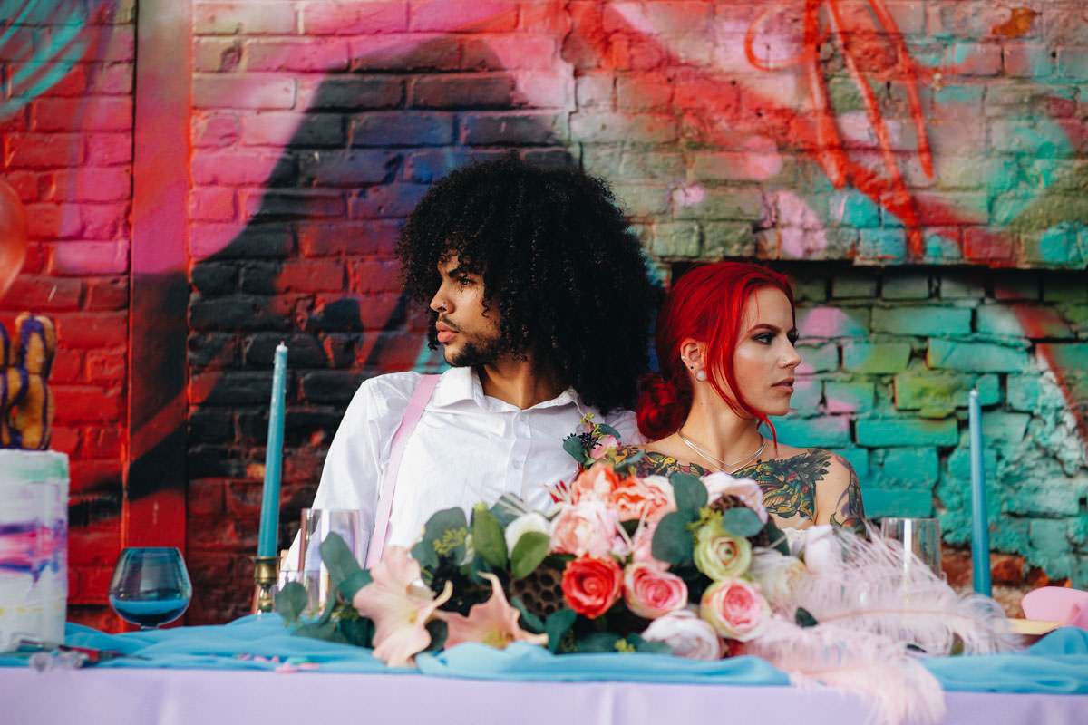 american wedding, art mural, black groom, charity wedding dress, chettara T Photography, Colourful Wedding, colourpop wedding, donut wedding cake, eastern market, environmentally friendly wedding eco wedding, graffiti wedding, melanoe Martinez, pastel wedding, red head bride, secondhand wedding dress, short wedding dress, styled shoot, tattooed bride, the dulce experience, thrift shop wedding dress, vintage wedding dress