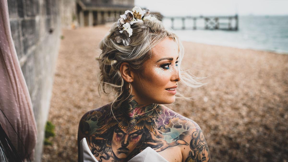 Southsea bride on the beach