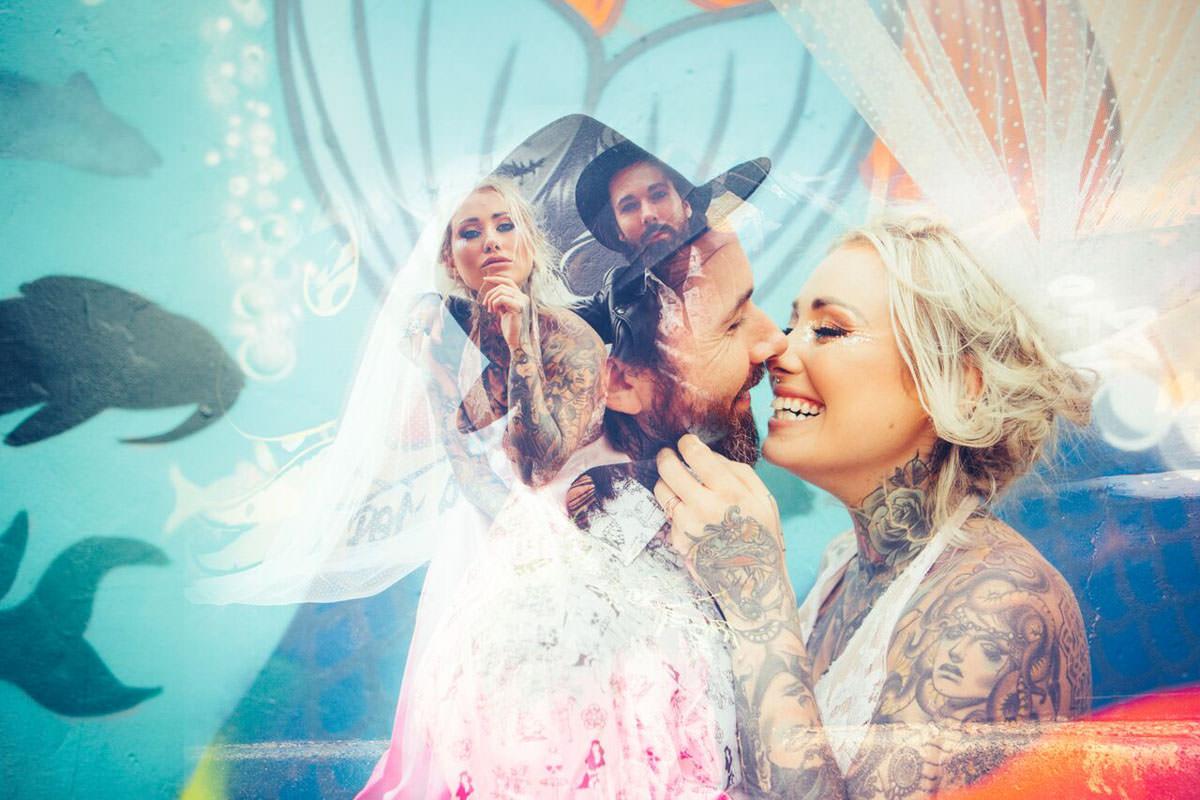 double exposure bride and groom portrait