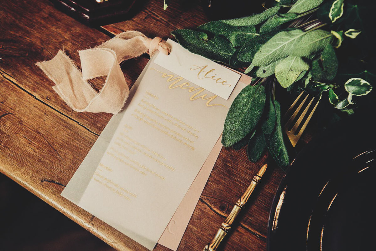 gold lettering wedding stationery