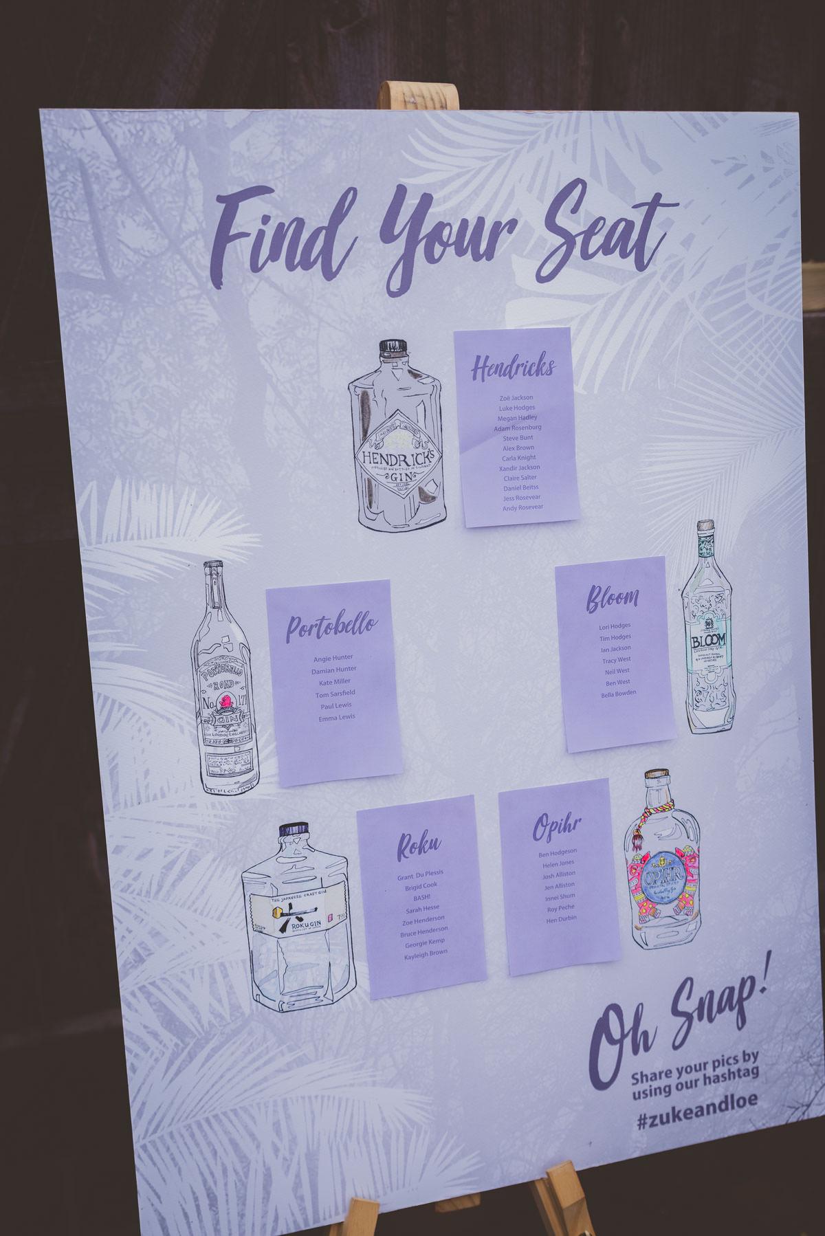 gin wedding stationery