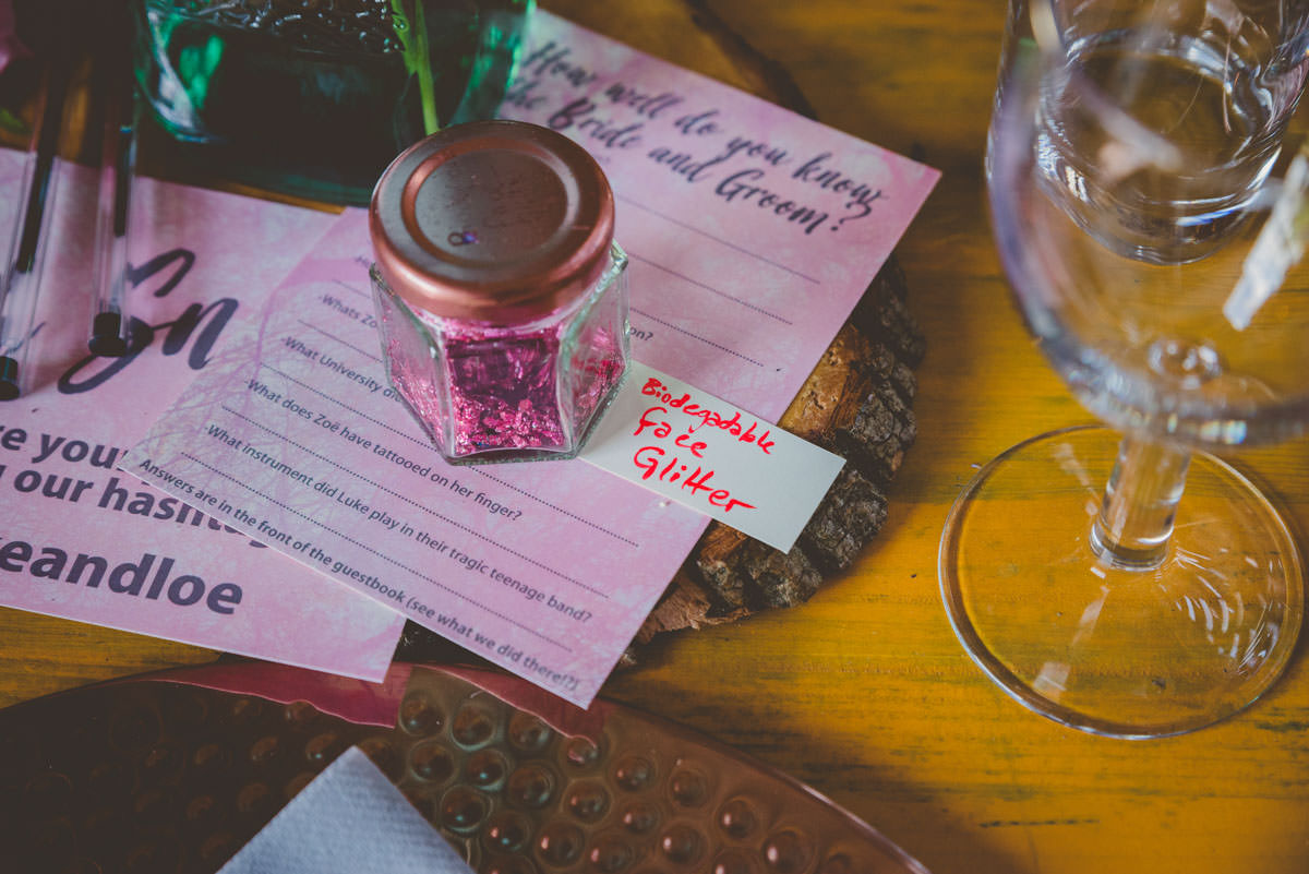 biodegradable glitter and homemade wedding stationery