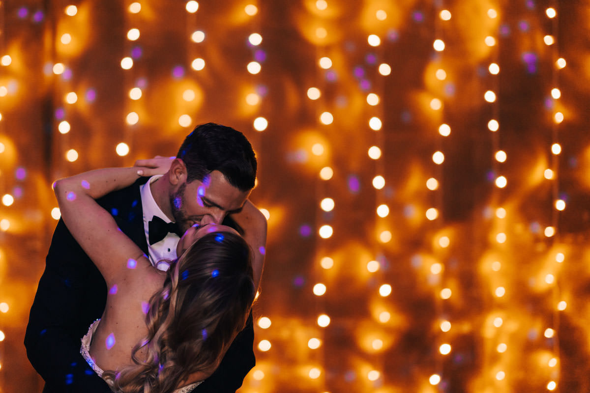 Fairy lights and couple kissing in the GillyFlower