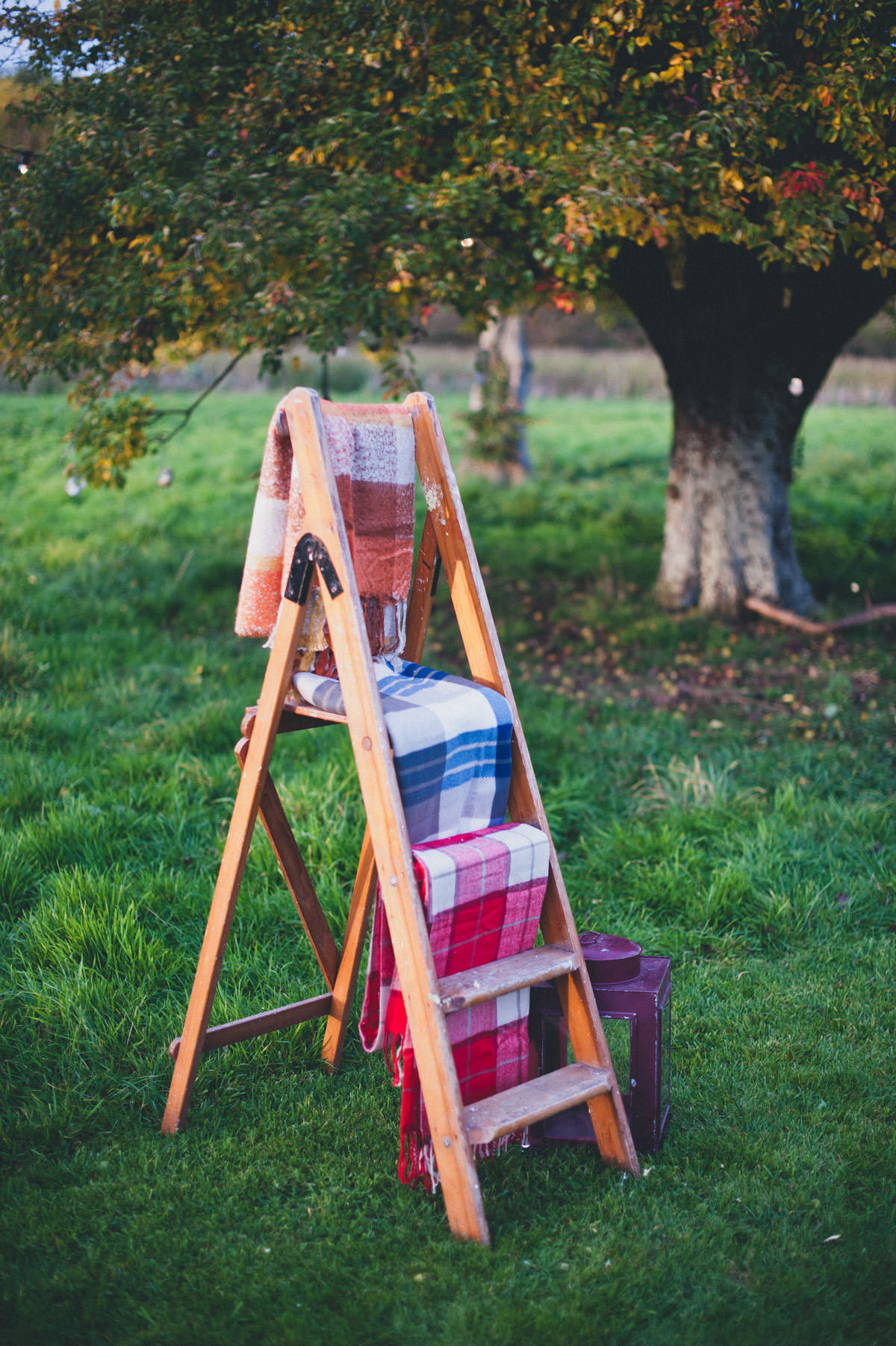 Blankets on ladder at Elmore Court